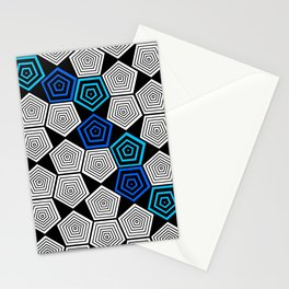 Colour Pop Pentagons - Turquoise Stationery Cards