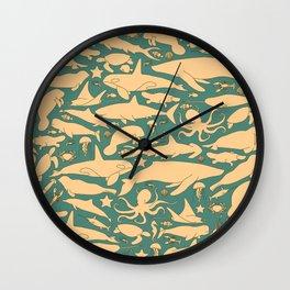 Minimalist, yellow and blue pattern of sea animals Wall Clock