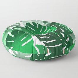 Green Big Monstera Leaves - white Floor Pillow
