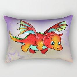 Kawaii orange baby dragon with stars Rectangular Pillow