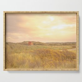 Cottage on Green Dune Grass and Yellow Sky   Landscape Travel Photography wall art   Tiny house Serving Tray