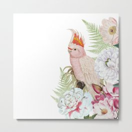 Vintage & Shabby Chic - Antique Pink Cockatoo With Tropical Flowers 1 Metal Print