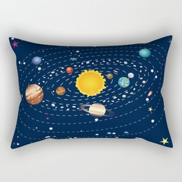 Cartoon solar system and planets around sun Rectangular Pillow