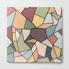 Stained Glass Mosaic - Natural Palette Metal Print