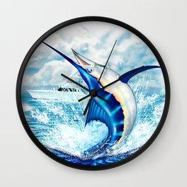 Fish On! Blue Marlin Fighting Sport Fishing Boat Wall Clock