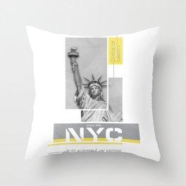 NYC Statue of Liberty   Illuminating Yellow & Ultimate Grey Throw Pillow