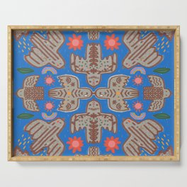 Birds, rainbows, flowers, the moon and stars tribal pattern Serving Tray