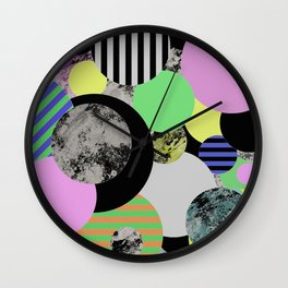 Cluttered Circles - Abstract, Geometric, Pop Art Style Wall Clock