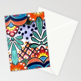 Colorful Talavera, Orange Accent, Large, Mexican Tile Design Stationery Cards