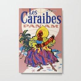 Les Caraibes Vintage Travel Poster Metal Print