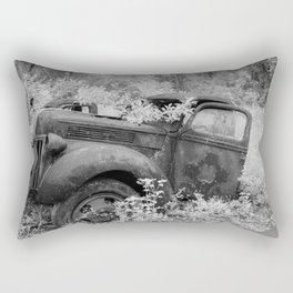 Rusting Pickup with Tree Grown in Cab Black and White Infrared Rectangular Pillow