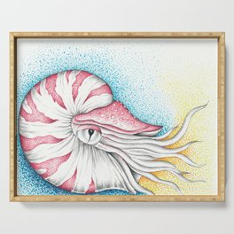 Nautilus Octopus Ink Nautical Marine Art Serving Tray