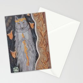 Wolf and flower crown Stationery Cards