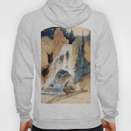 Crystal Falls Watercolour 1871 By Thomas Moran | Abstract Landscape Reproduction Hoody