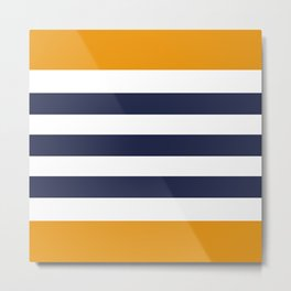 Stylish Classy Navy Blue Orange STRIPES Metal Print
