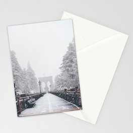 New York City and Brooklyn Bridge Winter/Christmas Stationery Cards
