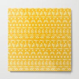 Mustard yellow and white boho mud cloth pattern design Metal Print