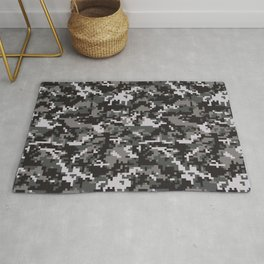 Black Digital Military Camouflage Rug