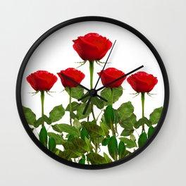 ORIGINAL GARDEN DESIGN OF RED ROSES ON WHITE Wall Clock