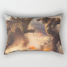 Godzilla vs King Kong Moster Fight Movies Art Print Decor Home Poster Full Size Rectangular Pillow