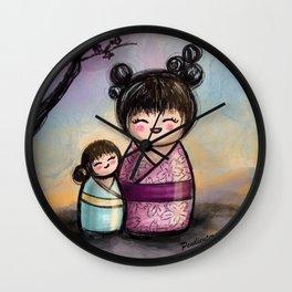 Kokeshis Mother and daughter Wall Clock