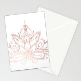 Boho Lotus Rose Gold Stationery Cards