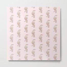 Kawaii Chalk-Browed Mockingbird Pattern Metal Print