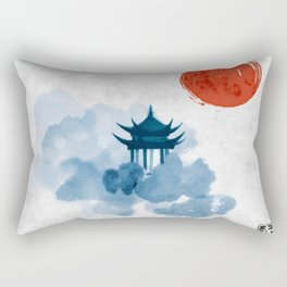 Blue pagoda temple, red sun and forest trees. Traditional oriental ink painting sumi-e, u-sin, go-hu Rectangular Pillow