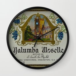 Vintage Blue Clock Yalumba Moselle Wine Bottle Label Print Wall Clock