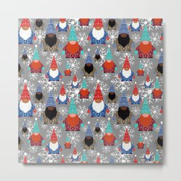 Gnome Snowflake Illustrations Christmas Pattern Metal Print