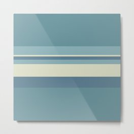 Horizontal Stripes - Muted Blue Metal Print