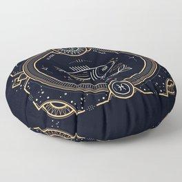 Pisces Zodiac Golden White on Black Background Floor Pillow
