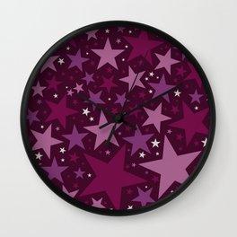 Christmas Stars Mulberry Wine Wall Clock