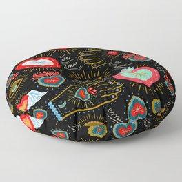 Milagro Love Hearts - Black Floor Pillow