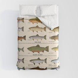 Illustrated Western Game Fish Identification Fishing - Sportsmen Chart Vintage Poster Comforters