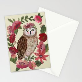 Floral Owl Stationery Cards