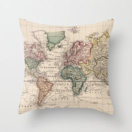 Vintage Map of The World (1833) Throw Pillow