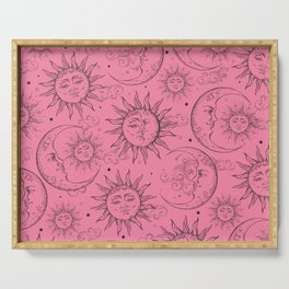 Pink Magic Celestial Sun Moon Stars Serving Tray