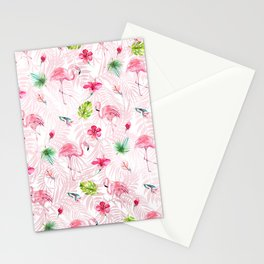 Watercolor tropical green pink flamingo leaf pattern Stationery Cards