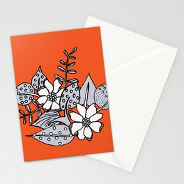 Orangey Gray Floral Stationery Cards
