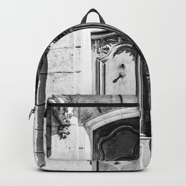 Doorway | Hotel de La Grange Nimes France Vintage Rustic Old World Black and White Architecture Backpack