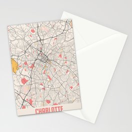 Charlotte - North Carolina Chalk City Map Stationery Cards