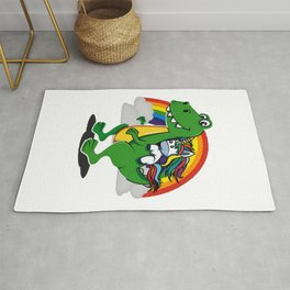 Unicorn Riding T-Rex Dinosaur Rainbow Boys Rug