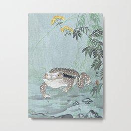 Toad and Flowers - Vintage Japanese Woodblock Print Art Metal Print
