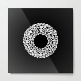 Skull Wreath - Goth Drawing Metal Print