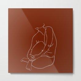 Nude figure line drawing - Pansy Metal Print
