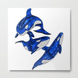 Tribal Orcas Killer Whales Ocean Animals Metal Print