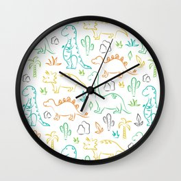 Colorful dinosaur pattern on white Wall Clock