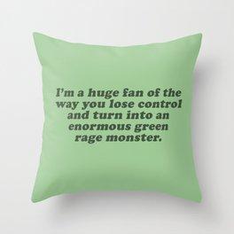 Green Rage Monster Throw Pillow