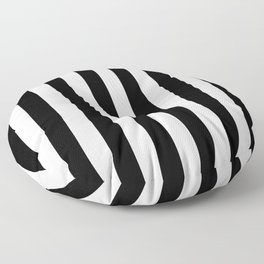 Abstract Black and White Vertical Stripe Lines 8 Floor Pillow